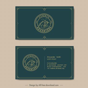 business card template adventure camping theme dark retro