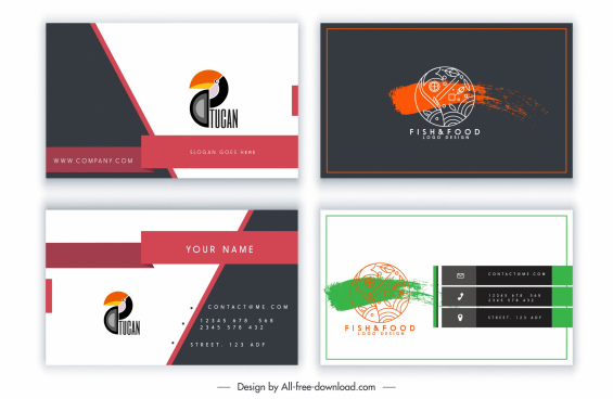 business card template animal logotype decor flat sketch