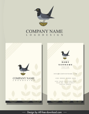 business card template bird logo blurred leaves decor