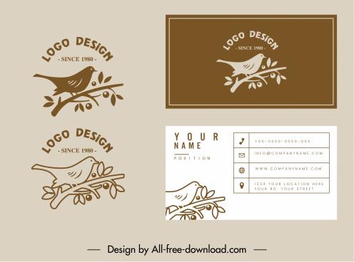 business card template bird logo decor flat classic