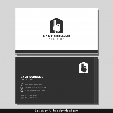 business card template black white bird nest theme