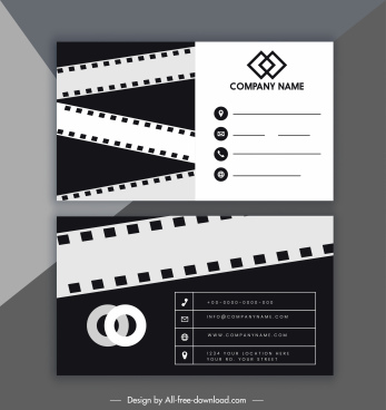 business card template black white film strip decor