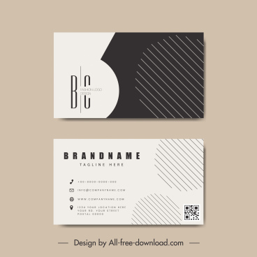 business card template black white flat circles lines