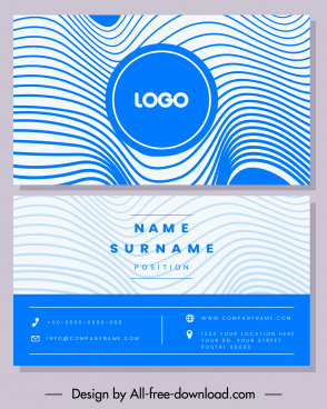 business card template blue illusive curves decor