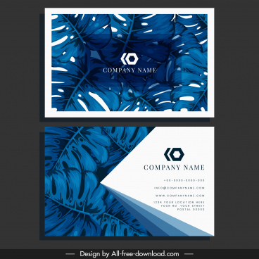 business card template blue leaves decor