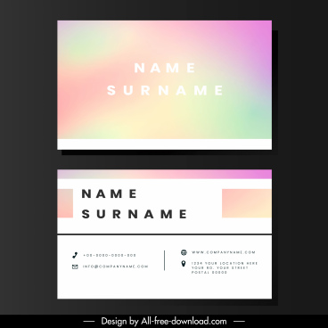 business card template blurred colors plain surface