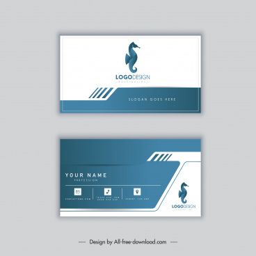 business card template bright modern flat seahorse decor