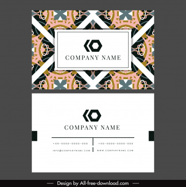 business card template classic abstract symmetric pattern decor