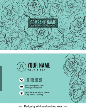 business card template classic elegant handdrawn botanical decor