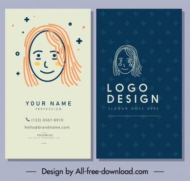 business card template classic handdrawn woman face sketch