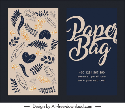 business card template classical natural leaves decor
