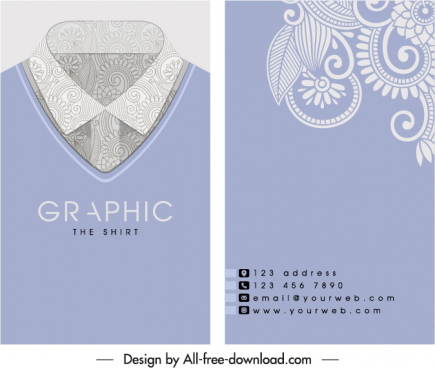 business card template collar pattern fashion sketch