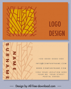 business card template colored abstract flat sketch