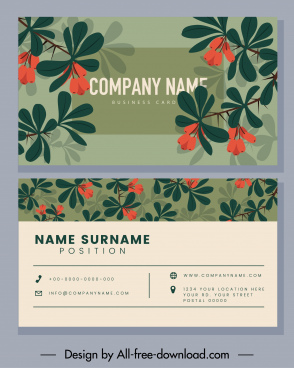 business card template colored flowers decor classical design
