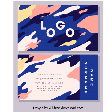 business card template colorful deformed abstract decor