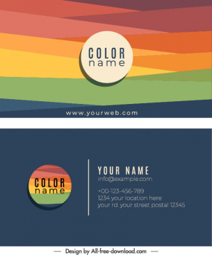 business card template colorful flat lines decor