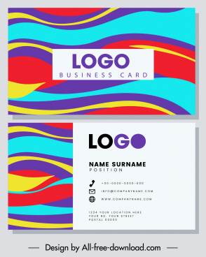 business card template colorful flat waving lines decor