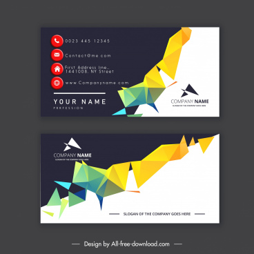 business card template colorful geometric lowpoly 3d decor