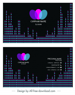 business card template colorful illusion dots lights decor