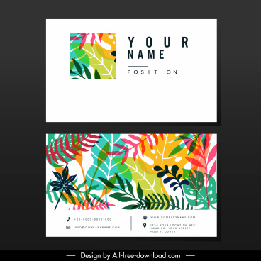 business card template colorful nature elements decor