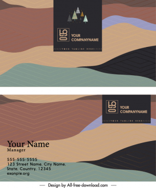 business card template colorful vintage mountain ranges sketch