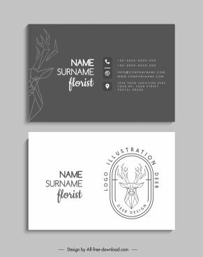 business card template contrast classic polygonal reindeer decor