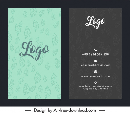 business card template contrast design classic handdrawn leaves