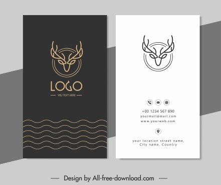 business card template contrast design reindeer head logo