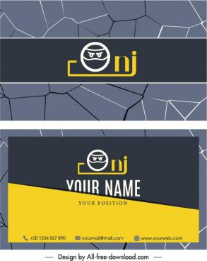 business card template cracking surface decor dark design