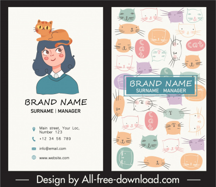 business card template cute handdrawn cats cartoon design