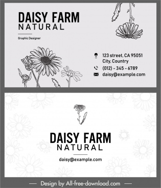 business card template daisy flower decor handdrawn sketch
