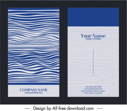 business card template dark abstract waving curves decor
