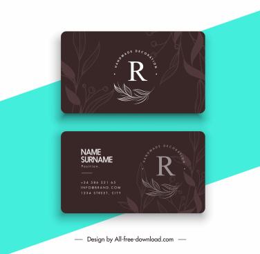 business card template dark black handdrawn leaves decor