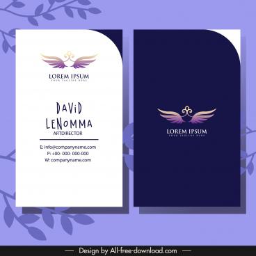 business card template dark bright design wings decor
