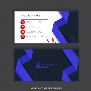 business card template dark bright violet 3d shape