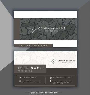 business card template dark brown leaves decor