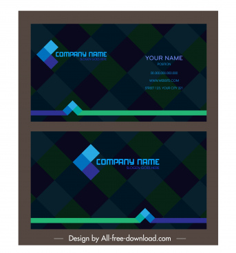 business card template dark colorful blurred checkered decor