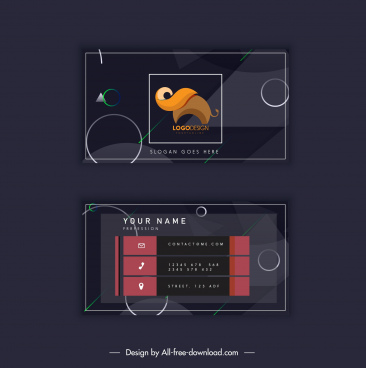 business card template dark decor elephant logotype