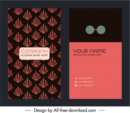 business card template dark design repeating handdrawn plants