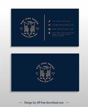 business card template dark eagle logotype decor