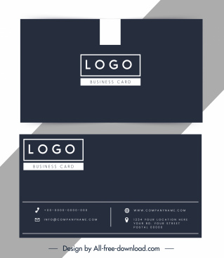 business card template dark elegant black white plain