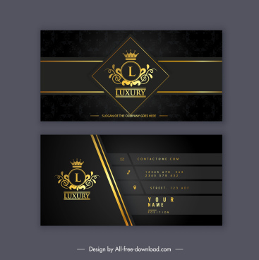 business card template dark luxury golden royal theme