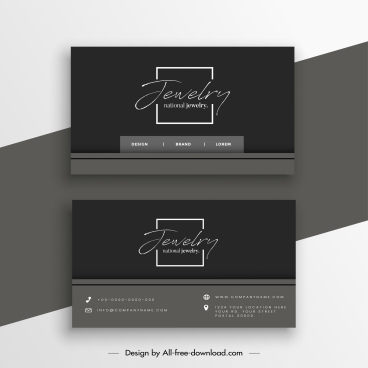 business card template dark plain design calligraphic decor