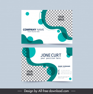 business card template dynamic curves checkered decor