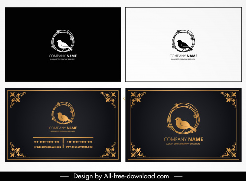 business card template elegant bird sketch dark design
