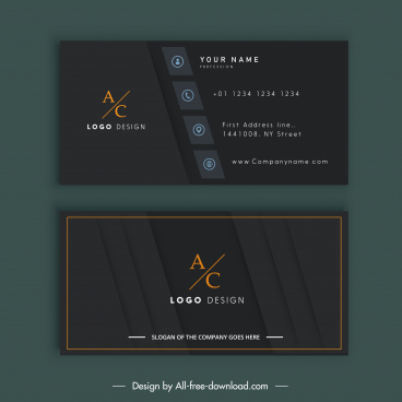 business card template elegant black flat decor