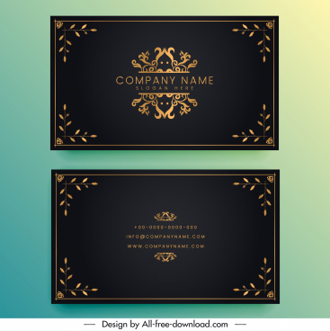 business card template elegant black golden symmetric decor