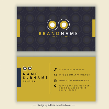 business card template elegant brown black horizontal decor