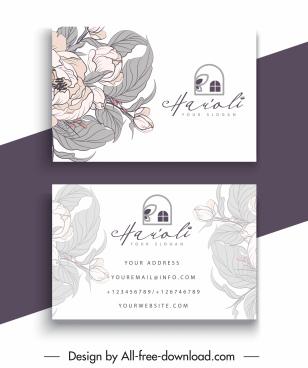business card template elegant classic handdrawn botany decor
