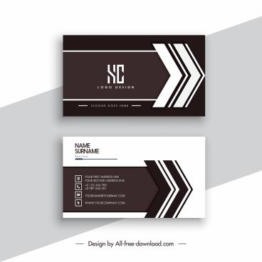 business card template elegant contrast dark bright arrows